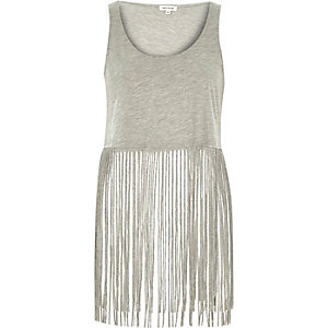 Grey fringed tank top