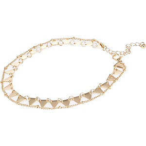 Gold tone two row anklet