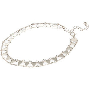 Silver tone two row anklet