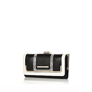 Black monochrome clip top purse