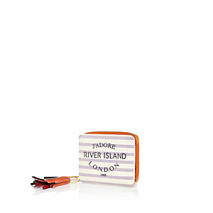 Cream stripe tassel purse