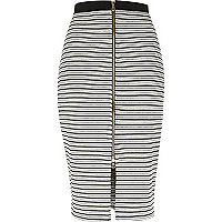 Grey stripe zip front pencil skirt