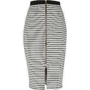 Grey stripe zip front pencil skirt