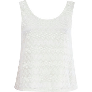 Cream textured knit split back top