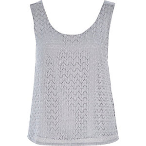 Silver textured knit split back top