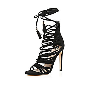 Black suede caged strappy heeled sandals