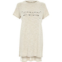 Cream inspiration print oversized t-shirt