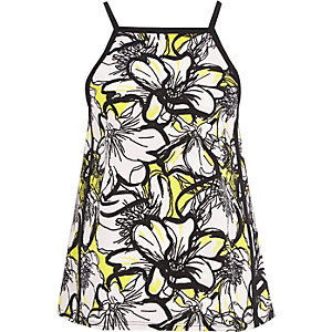 Yellow floral print square cami