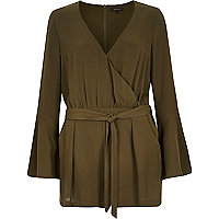 Khaki smart bell sleeve playsuit