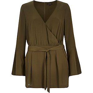 Khaki smart 70s bell sleeve playsuit
