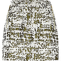 Cream and khaki woven mini skirt