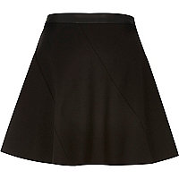 Black leather-look trim circle skirt