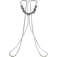 Silver tone chunky stone body harness