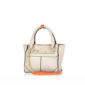 Grey and orange mini tote handbag