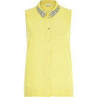 Yellow sleeveless embellished collar shirt