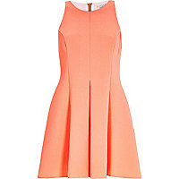Peach textured crepe skater dress