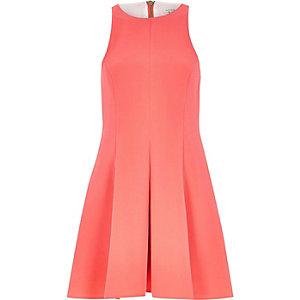 Pink textured crepe skater dress