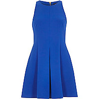 Bright blue textured crepe skater dress