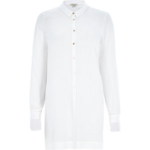 White long sleeve button front shirt