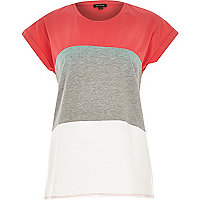 Pink horizontal stripe colour block t-shirt
