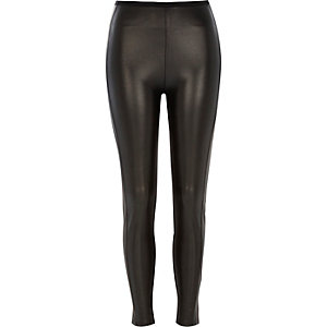 Black coated high waisted leggings
