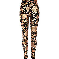 Black floral foil print leggings