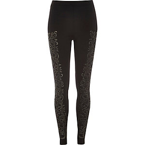 Black gold caviar print leggings