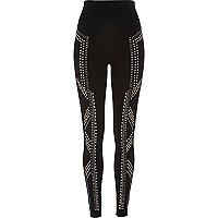 Black sparkly high waisted leggings