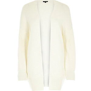 Cream ottoman ribbed long sleeve cardigan