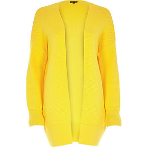 Yellow ottoman ribbed long sleeve cardigan