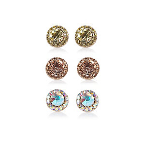 Mixed diamante stud earrings pack
