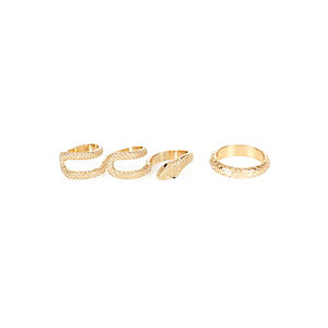 Gold tone snake print ring pack