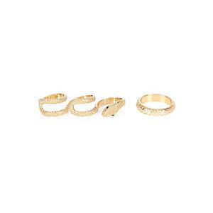 Gold tone snake print ring pack