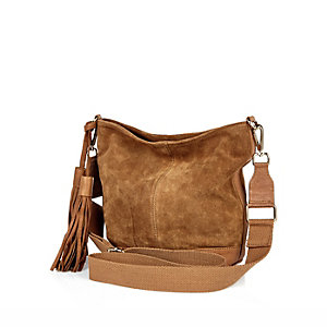 Tan brown suede slouchy tassel handbag