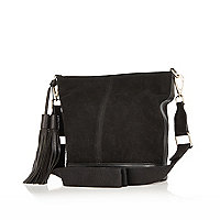 Black suede slouchy bucket bag