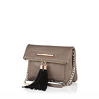 Brown cross body tassel bag