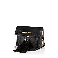 Black cross body tassel bag