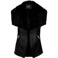 Black faux-fur sleeveless gilet