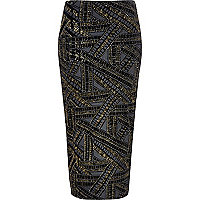 Black gold sparkle pull on pencil skirt