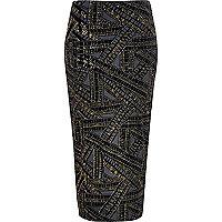 Black gold sparkle pull on pencil skirt