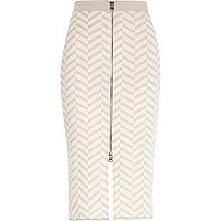 Beige chevron print zip front pencil skirt