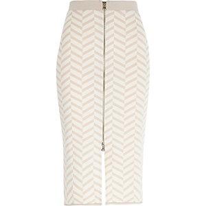Beige chevron print zip front pencil skirt