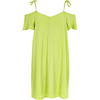 Lime green cold shoulder slip dress