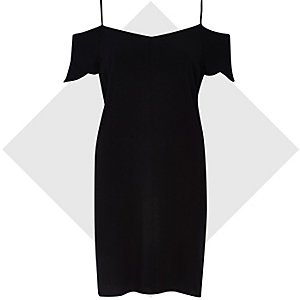Black bardot slip dress