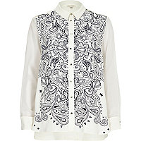 Cream bandana print split back shirt