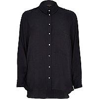 Navy split back shirt