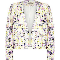 Cream print jacquard tailored boxy jacket
