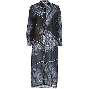 Navy bandana print long sleeve maxi shirt