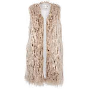 Cream shaggy faux fur gilet