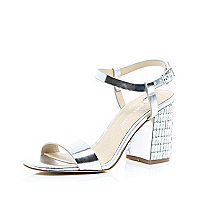 Silver leather gem block heel sandals